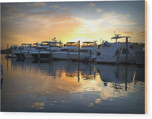 Bluewater Sunset Wood Print