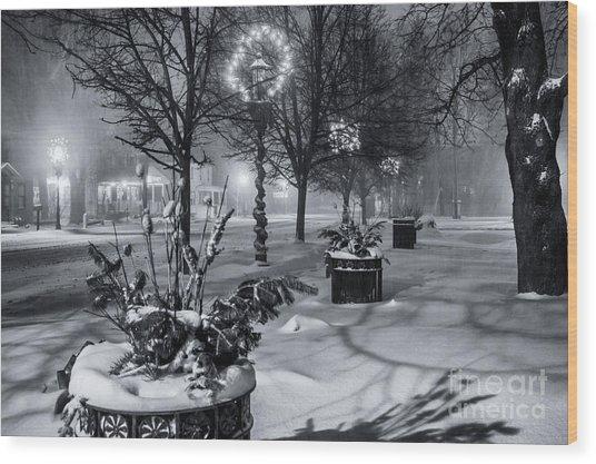 Blustery Winter Night Wood Print