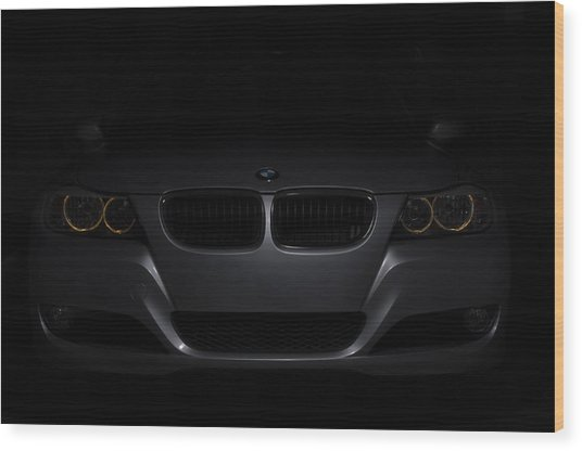 Bmw Car In Black Background Wood Print