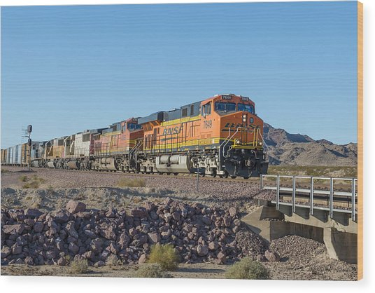 Wood Print featuring the photograph Bnsf 7649 by Jim Thompson