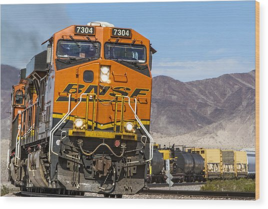 Bnsf In Ludlow, California Wood Print