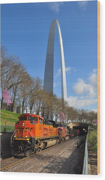 Wood Print featuring the photograph Bnsf Ore Train And St. Louis Gateway Arch by Matthew Chapman