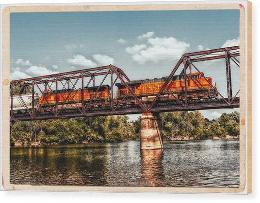 Bnsf Over The Meramec Wood Print
