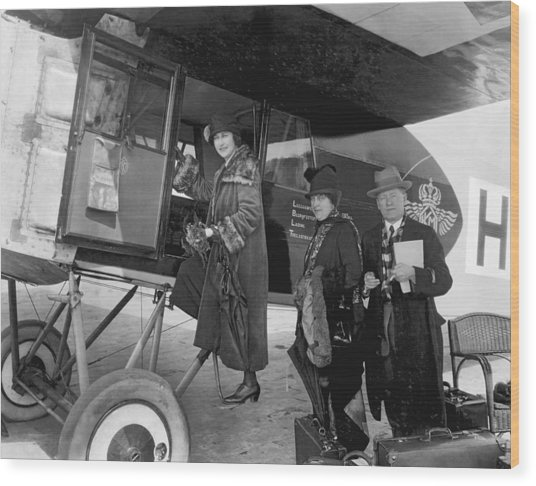 Boarding Fokker Airplane Wood Print