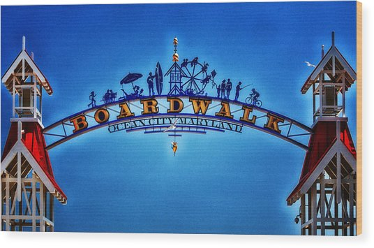 Boardwalk Arch In Ocean City Wood Print