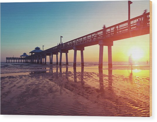 Boardwalk At Sunset While The Sun Wood Print by Moreiso