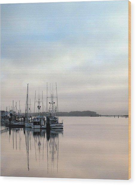 Boardwalk Boats Wood Print