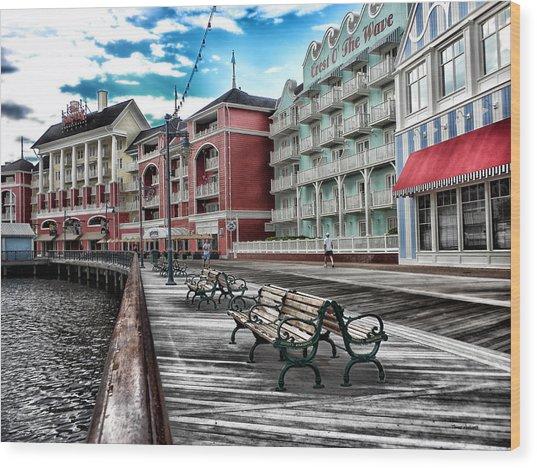 Boardwalk Early Morning Wood Print