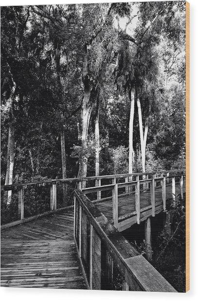 Boardwalk In Black And White Wood Print
