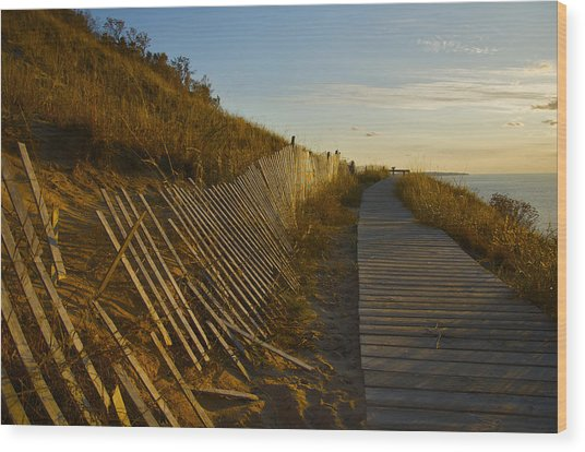 Boardwalk Overlook At Sunset Wood Print