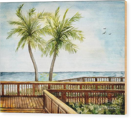 Boardwalk With Two Palms Wood Print