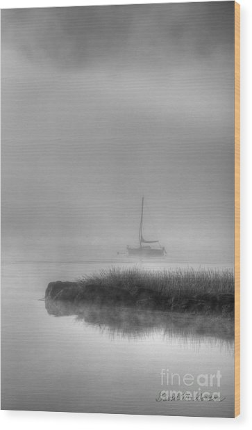 Boat And Morning Fog Wood Print