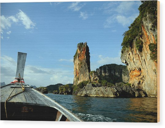 Boat And Rock Wood Print by Money Sharma