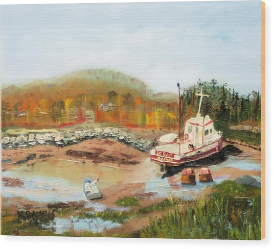 Boat At Bic Quebec Wood Print