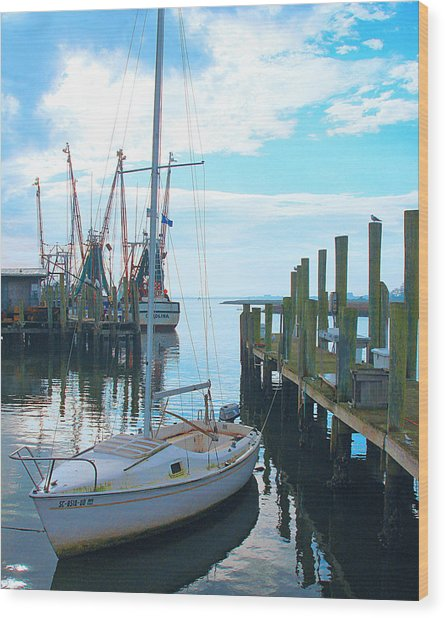 Boat At Dock By Jan Marvin Wood Print