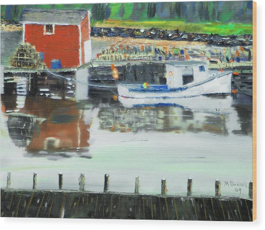 Boat At Louisburg Ns Wood Print