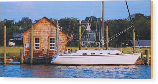 Boat At Shem Creek By Jan Marvin Wood Print