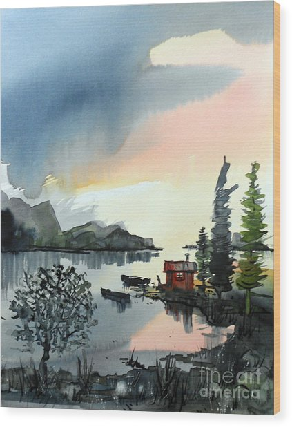 Boat Camp Wood Print