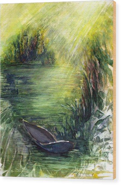 Boat Dock Wood Print