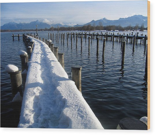 boat harbour at Lake Chiemsee in winter Wood Print