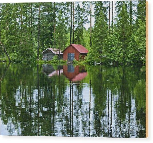 Boat House On Swedish Lake Wood Print