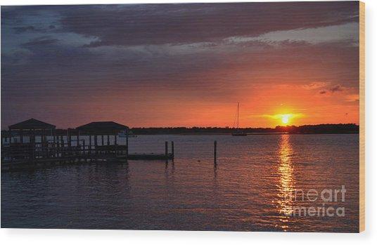 Boat House Sunset  Wood Print