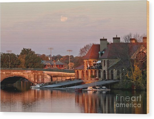 Boat Houses At Dawn Wood Print