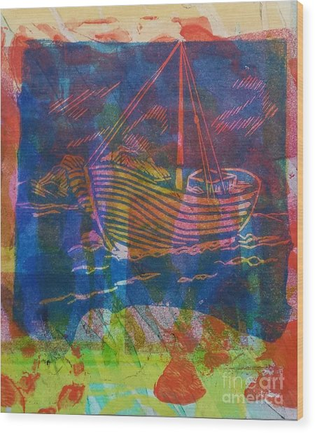 Boat In Blue Wood Print