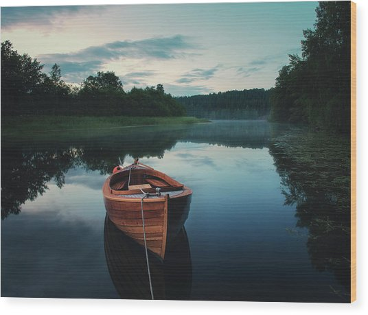 Boat In Fog Wood Print by Christian Lindsten