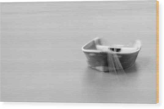 Boat In Water Wood Print