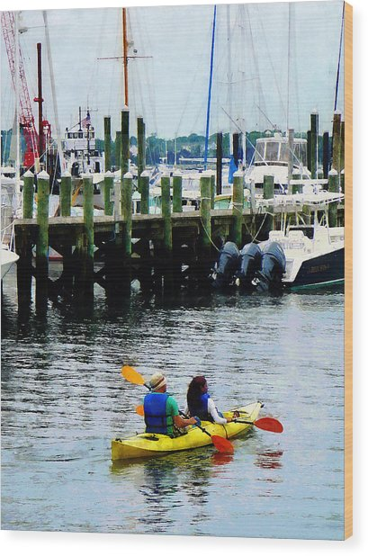Boat - Kayaking In Newport Ri Wood Print