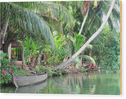 Boat Lays Along A Kerala Canal Wood Print