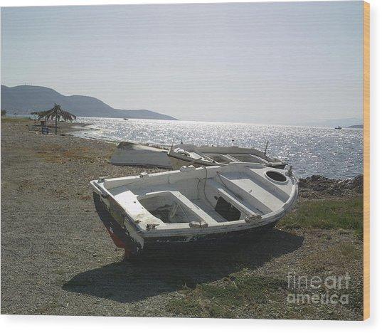Boat On Alyki Beach Wood Print by Katerina Kostaki