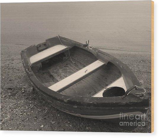 Boat On Black Wood Print by Katerina Kostaki