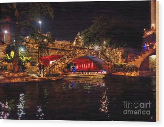 Boat On Canal Riverwalk San Antonio At Night Wood Print