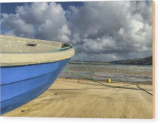 Blue Boat At St Ives Wood Print