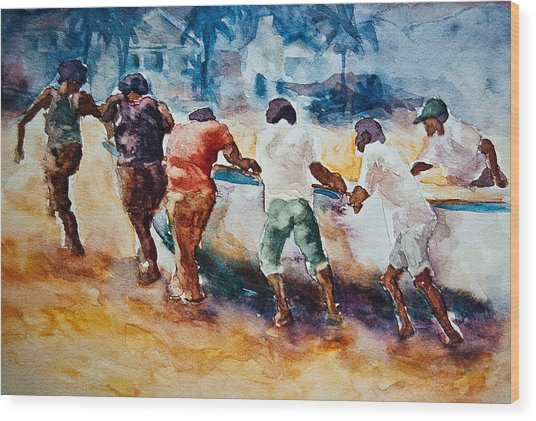 Wood Print featuring the painting Men At Work by Jani Freimann