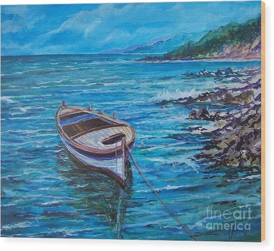 Boat Wood Print by Sinisa Saratlic