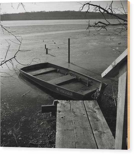 Boat In Ice - Lake Wingra - Madison - Wi Wood Print