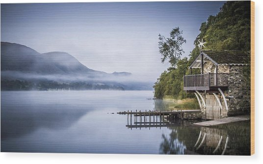 Boathouse At Pooley Bridge Wood Print