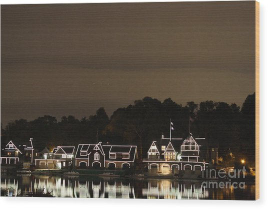 Boathouse Row Wood Print