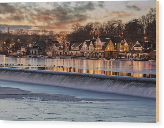 Boathouse Row Philadelphia Pa Wood Print