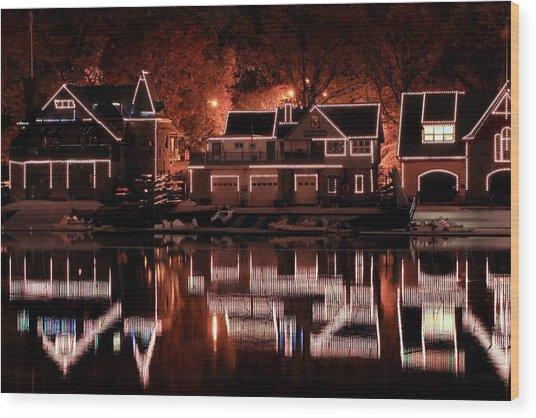 Boathouse Row Reflection Wood Print