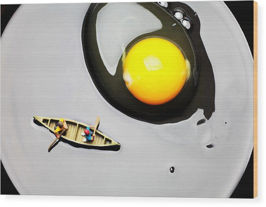 Boating Around Egg Little People On Food Wood Print