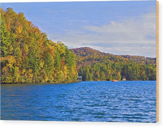 Boating In Autumn Wood Print