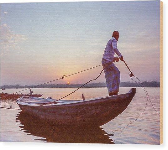 Boatman On The Ganges Wood Print