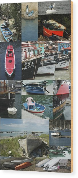 Boats Around The World Wood Print by Helen Worley
