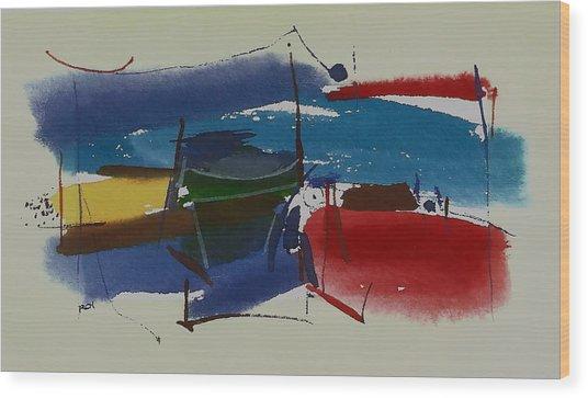 Boats At Dock Wood Print