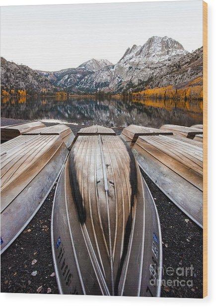 Boats At Mountain Lake In Autumn Fine Art Photograph Print Wood Print