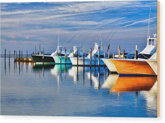 Boats At Oregon Inlet Outer Banks II Wood Print